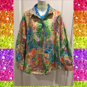 Ralph Lauren Yellow Paisley Button Down Shirt ~ 3X